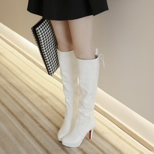 Spring Autumn Winter Women's Sexy High Heels Long Knee High Ladies Black White Boots