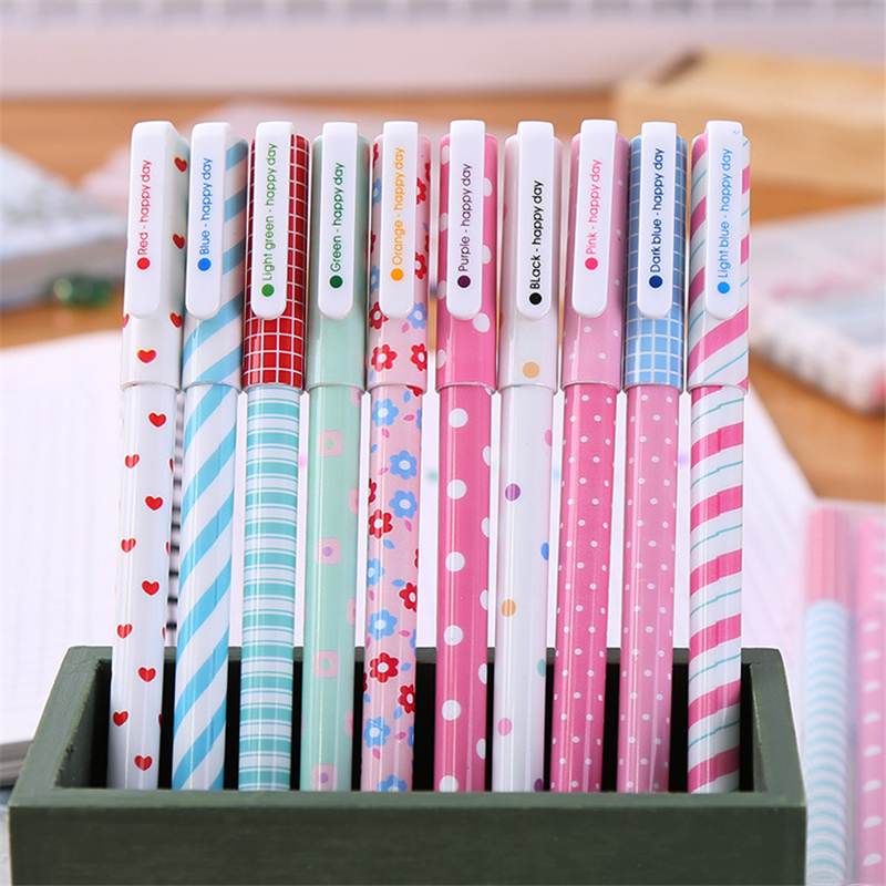 10 color/Box 0.38mm Cute Colored Gel pen Fashion Kawaii Pens Stationery Korean Office & School Supplies