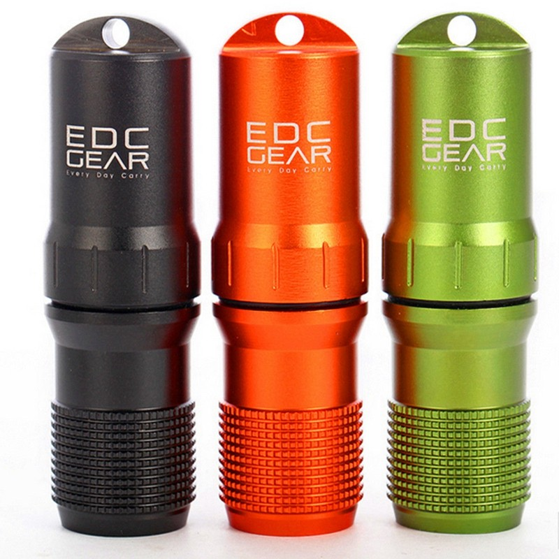New Waterproof CNC Keychain Aluminum EDC Survival Pill//Match Case Box Container