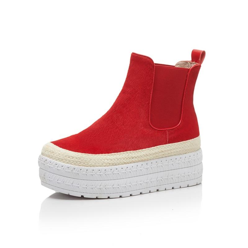 цена на KSJYWQ Genuine leather Women Ankle Boots 5 CM Thick Soles Flat Waterproof Platform Boot Winter Warm Shoe Woman Box Packing D-868