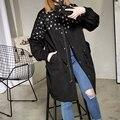 [Soonyour] 2017 primavera moda de nueva loose escudo corea marea largo abrigo rompevientos de la mujer de pie de cuello negro y11501
