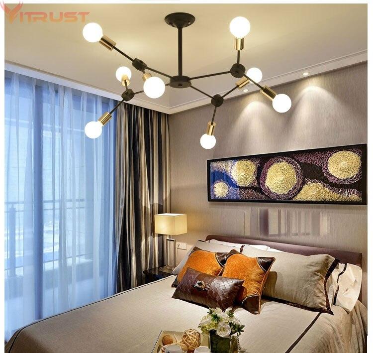 Nordic Chandeliers Lighting luchters Modern Black Lamps led lustres para sala Hanging Lights DNA Fixtture Living Dining Bedroom in Chandeliers from Lights Lighting