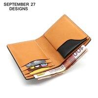 Men Wallets luxury brand 100% Top genuine cow leather mini purse Fashion Design male clutch small men's short Bifold wallets