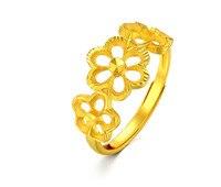 Чистое 999 24 K желтный золотистый цветок кольцо женское свадебное кольцо 3,48 г