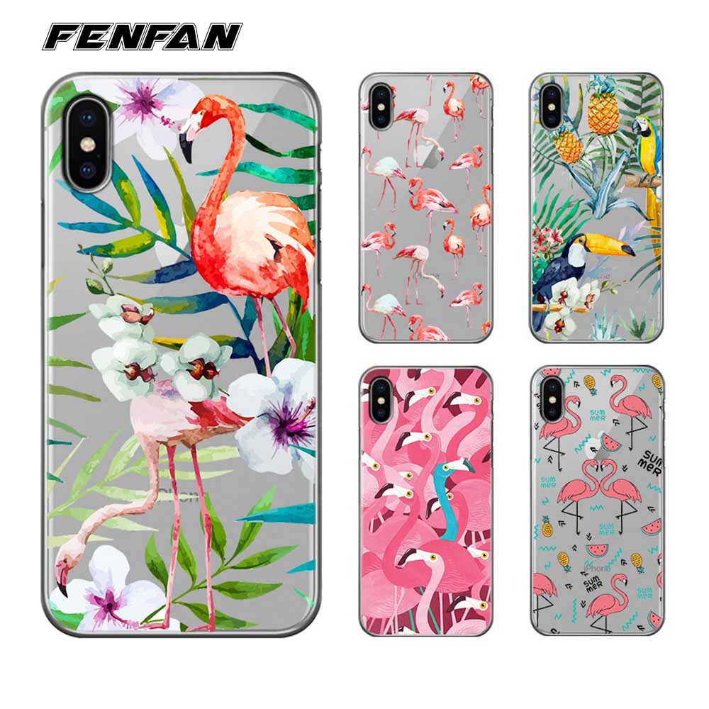 Silicone TPU Case for iphone 5 5S SE cover Flamingo Parrot Phone Case for iPhone 6 6S Plus 7 7 Plus 8 8 Plus X case