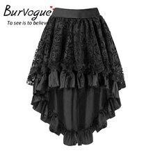 21b7ab7195 Burvogue Sexy mujeres Steampunk faldas del cordón mullido Zipper Midi Maxi faldas  negro corsé gótico de la vendimia falda S-6XL