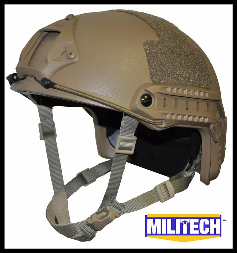 Militech Coyote Brown OCC Dial NIJ Level IIIA 3A FAST High Cut Bulletproof Ballistic Kevlar Helmet