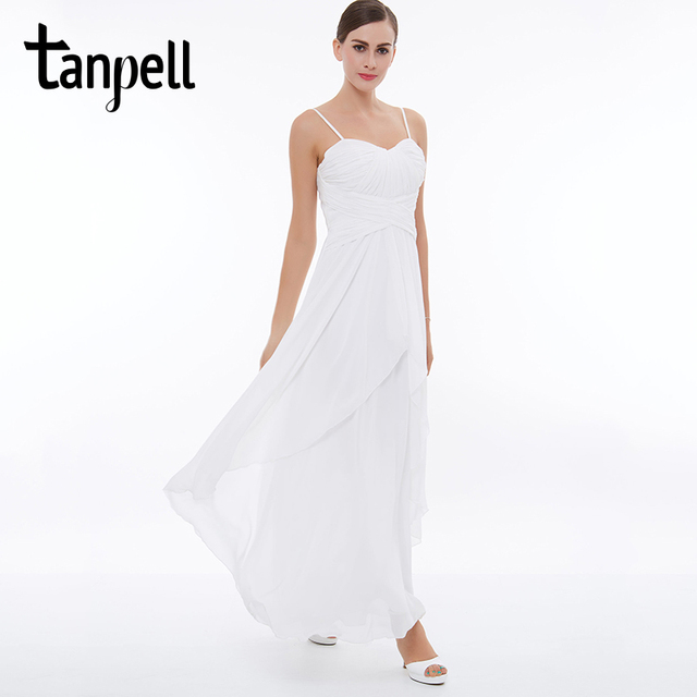 Tanpell abito da sera lungo bianco senza maniche senza spalline una linea  ankle b59bb845159