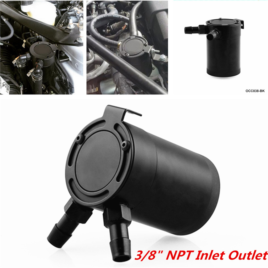 Universal Car Racing Aluminum Breathable Oil Can 2-port Oil Can Tank Separator