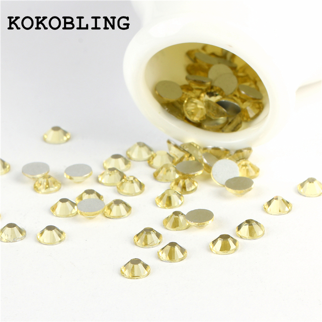 KOKOBLING ss3 -ss30 Flat Back Best Crystal Jonquil ( 3d Nail Art  decorations ) Non Hot Fix Glue on rhinestones for nails diy 6017a52b13d4