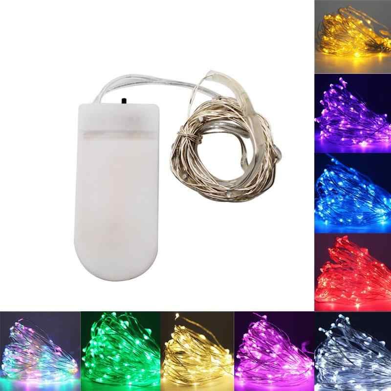 Battery LED String lights 10M 5M 2M Silver Wire Garland Home Christmas Wedding Party Decoration 5V USB outdoor Fairy light