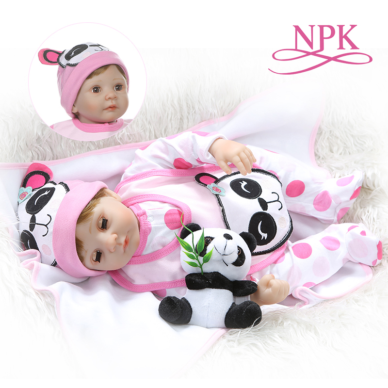 NPK 55CM soft stuffed body 1 4 silicone limbs reborn baby doll eyes blink sweet girl