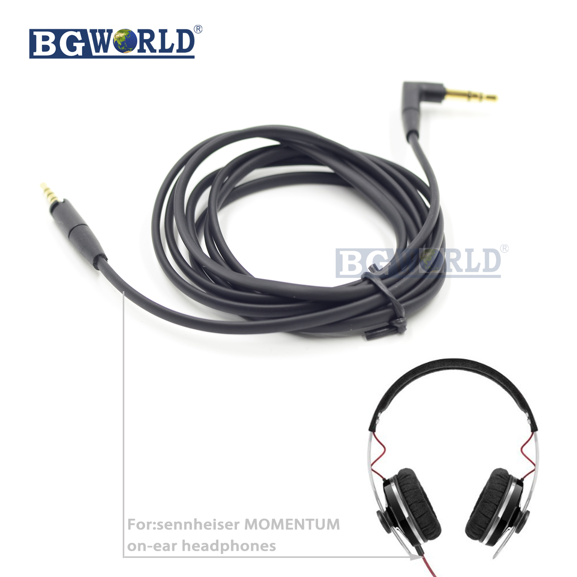 BGWORLD Replacement Audio Cable line cord wire For Sennheiser Momentum 1.0 2.0 Over On-Ear Headphones headset part line art