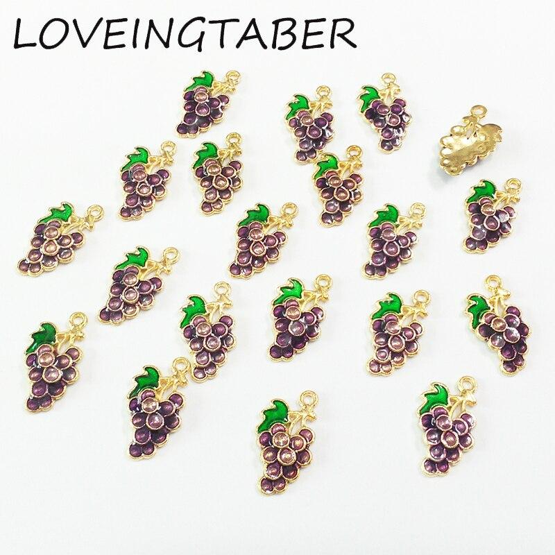 Newest 15mm*9mm 30pcs/lot Enamel Grape Small Charm Pendants For Making Handmade Bracelet DIY Accessories
