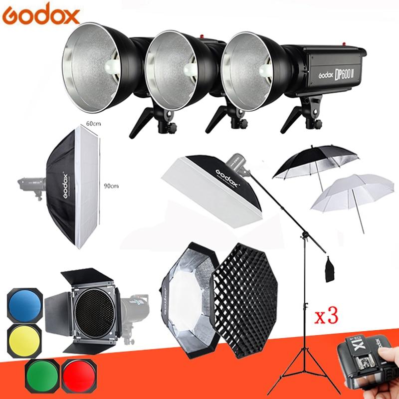 1800Ws Godox DP600 II 3x 600Ws Photo Studio Flash Lighting Softbox Light Stand trigger Studio Boom