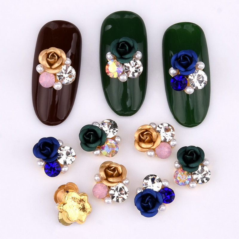 Image 4 - 10psc  New Design 3D Nail Art Alloy Decorations rose flowers Crystal rhinestones Nail Charms Supplies LH322 330-in Rhinestones & Decorations from Beauty & Health