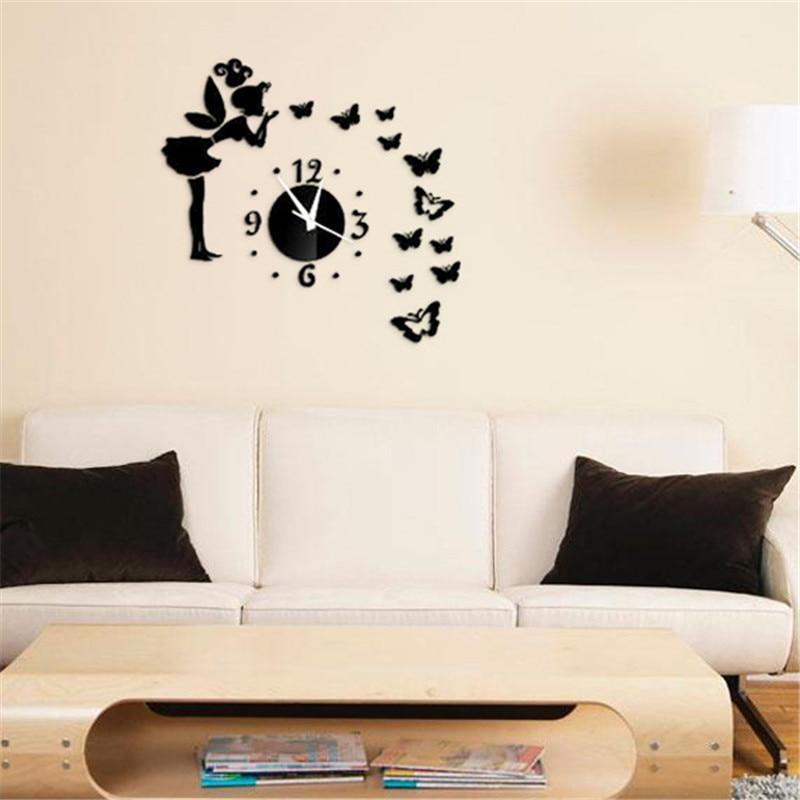 Creative 3D Wall Clocks Quartz Acrylic Wall Clock Mirror Fairy Sticker Kids Decor Watch Home Living Room Decoration