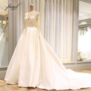 Image 3 - Fmogl Vestido De Noiva Long Sleeve Vintage Wedding Dresses 2020 Sexy Appliques Chapel Train Matte Satin Lace Bride Gowns