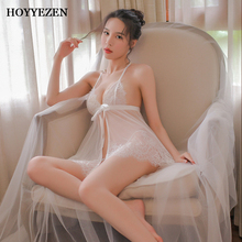 Hoyyezen new sexy lace bow perspective underwear pajamas home service nightdress suit with