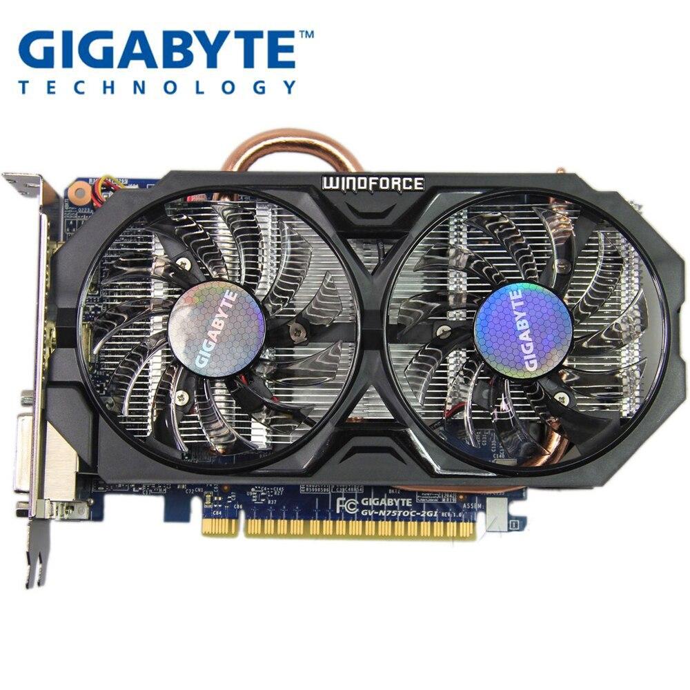 Используется, Gigabyte GTX 750 TI 2G WINDFORCE видеокарта двойной вентилятор охлаждения двойной DVI двойной HDMI интерфейс для LOL CSGO PUBG