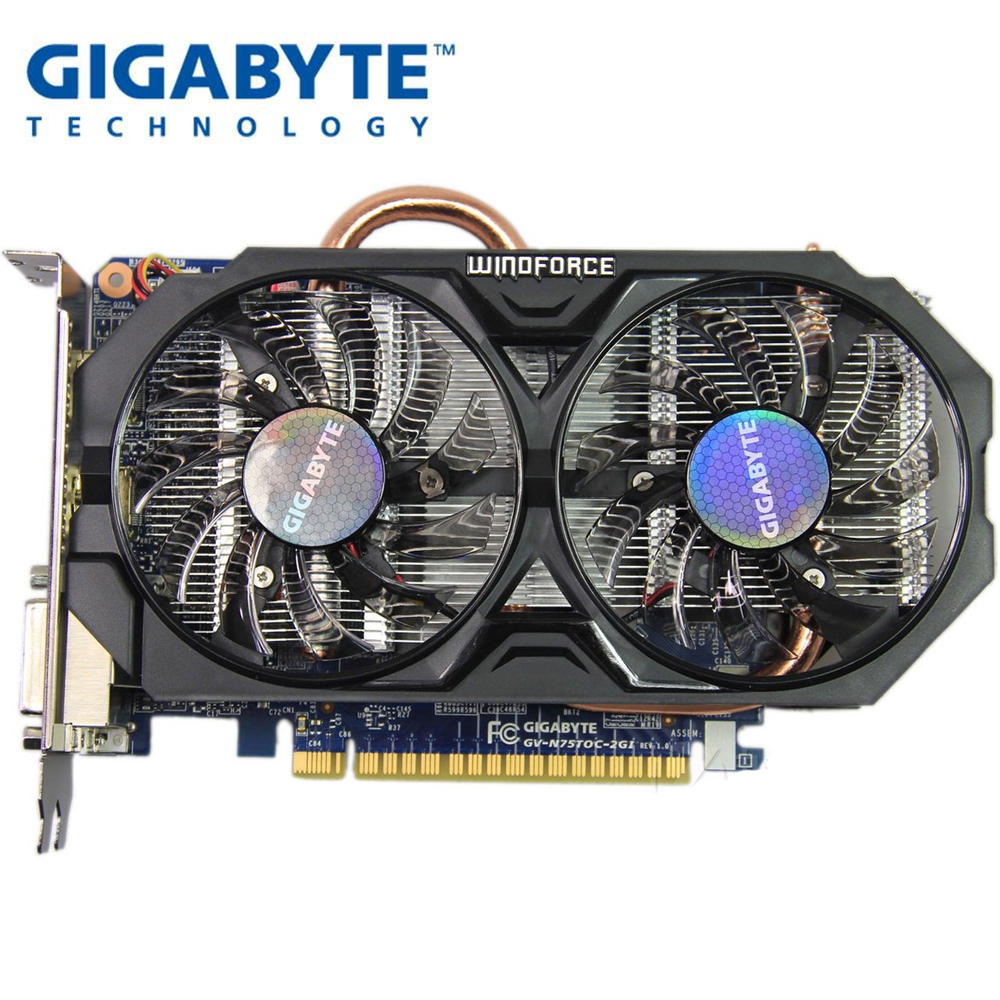 USED, Gigabyte GTX 750 TI 2G WINDFORCE Graphics Card Dual Fan Cooling Dual DVI Dual HDMI Interface For LOL CSGO PUBG