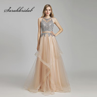 Elegant Long Prom Dresses Tulle A Line Floor Length Sleeveless Back Zip Appliques Evening Party Gowns Beads New In Stock CC490
