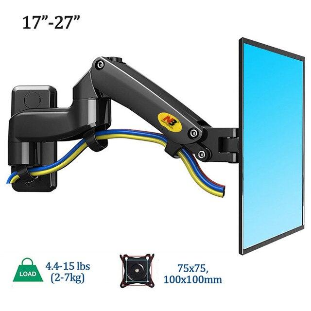 """شاشة تلفزيون NB F150 كتيفة تثبيت حائطية 360 دوارة 17 27 """"حامل شاشة ذراع نابض غاز LED LCD TV حائطية التحميل 2 7kgs"""