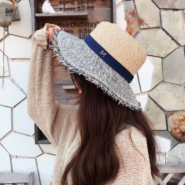 Panamá sombrero de paja verano M letra sombreros para las mujeres sombrilla  turismo Boater sombrero de 31f0362e6c1f