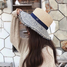 Panama Straw Hat Summer M Letter Hats For Women Sun Shade Tourism Boater Hat Wide Brim Burr Raffia Chapeau