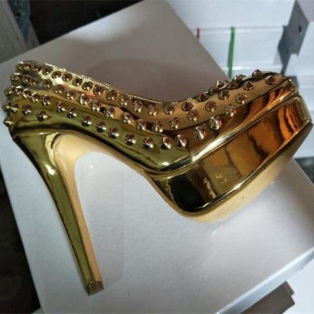 SHOFOO shoes Elegant fashion gold leather rivet decoration peep toe pumps SIZE:34-45