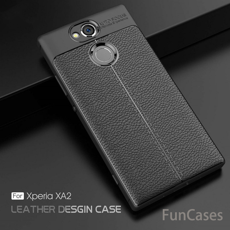 Litchi Grained Anti-slip Luxury Soft Shockproof Rugged Protective TPU Silicone Back Cover Case For Sony Xpera XA2 Xpera