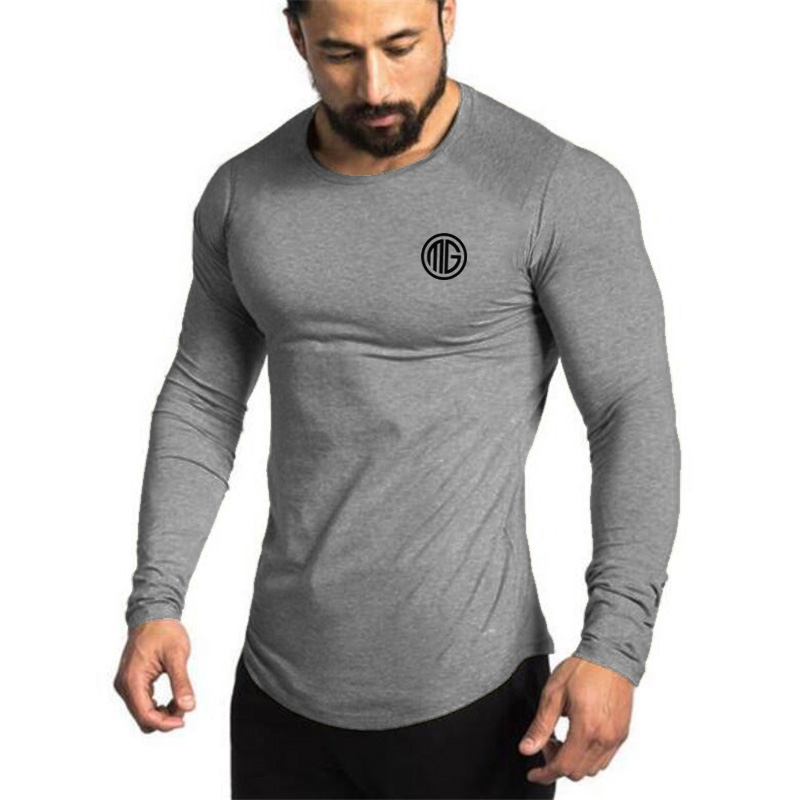 Muscleguys Brand 2018 Fashion Clothes Solid Color Long Sleeve Slim Fit   T     Shirt   Men Cotton Casual   T  -  Shirt   Sportswear Gyms Tshirts