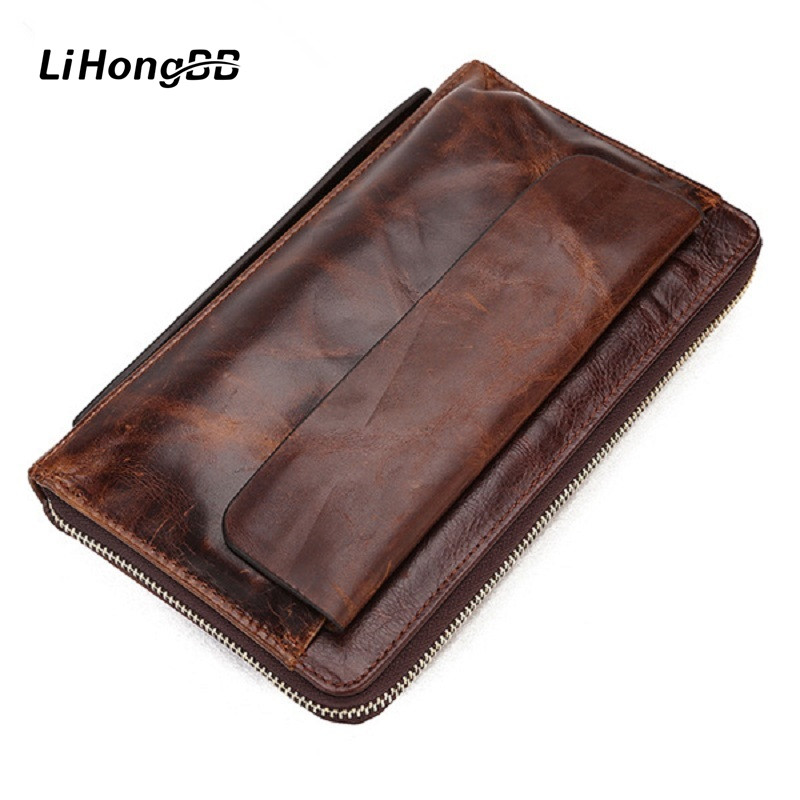 2017 Luxury Vintage Genuine Leather Men Wallets Male Business Zipper Clutch Bag Mens Purse Man Card Holder Wallet Wrist Bags 2017 new cowhide genuine leather men wallets fashion purse with card holder hight quality vintage short wallet clutch wrist bag
