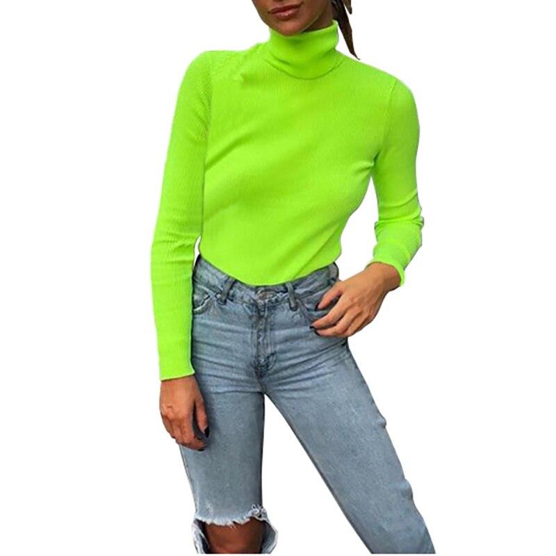 Jersey de punto con cuello de tortuga para mujer verde fluorescente 2018 Otoño Invierno Casual jersey de manga larga