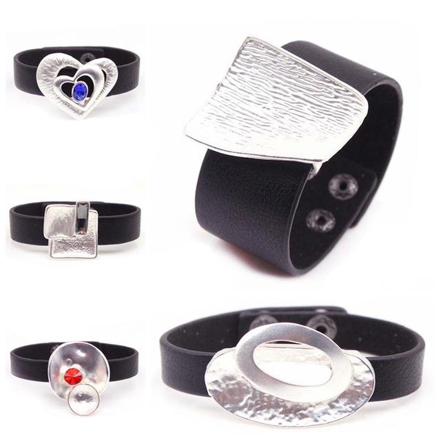 2019 New Charm Black Leather Bracelet for Women Femme Fashion Cool Clasp Wristband Bracelets Bangles