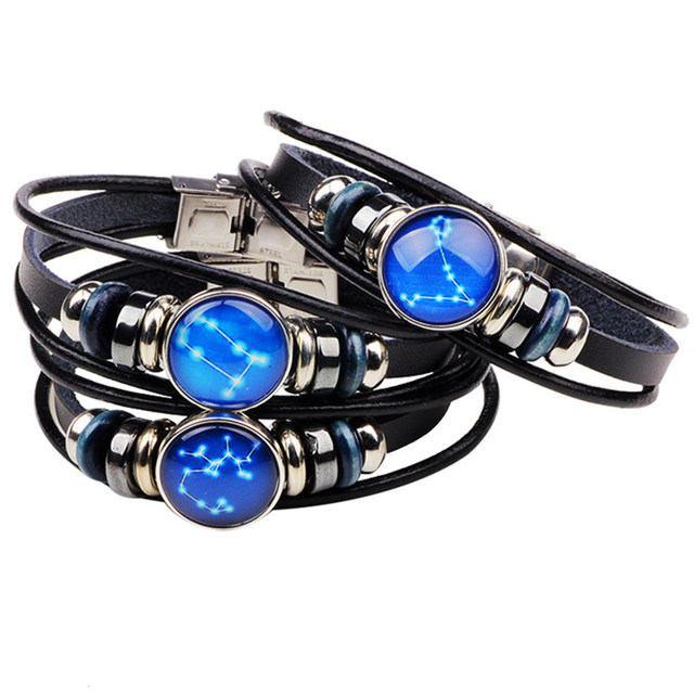 Sky 12 Constellation Leo Virgo Aquarius Scorpio Libra Genuine Leather Bracelet