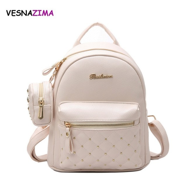 Fashion Composite Bag PU Leather Backpack Women Cute School Backpacks For  Teenage Girls Rivet Bags Women s Purse Sac A Dos W627Z bd5dbee526bed