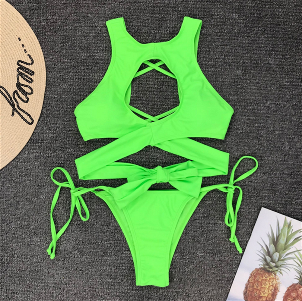 2019 New Women Solid Swimwear Bandage Bikini Set Push-up Padded Bra Bathing Suit Fashion  Swimsuit