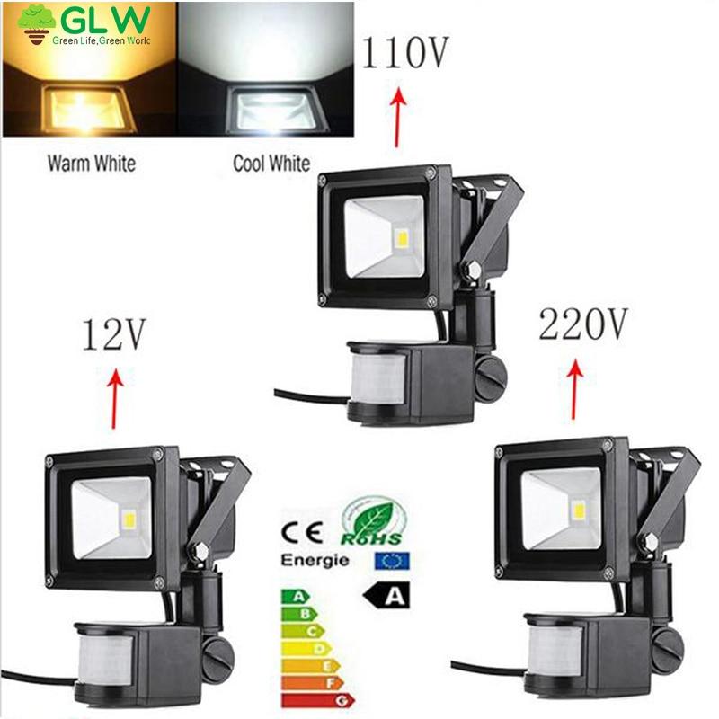 12V/110V/220V PIR Sensor Motion Outdoor 10W flood light with motion sensor floodlight projecteur led exterieur avec capteur