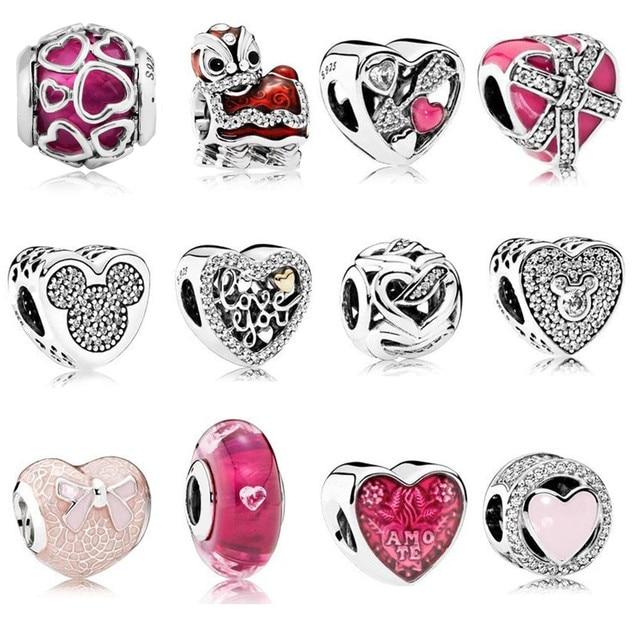 Fit Original  Charm Bracelet 925 Sterling Silver Charm Bead Pink Enamel DIY Berloque 2017 Valentine's Day Collection