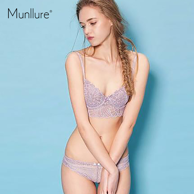 b1ddc6fee0 Munllure New arrival sexy deep purple V-neck double layer lace perspective cutout  ultra-thin comfortable underwear bra cover set