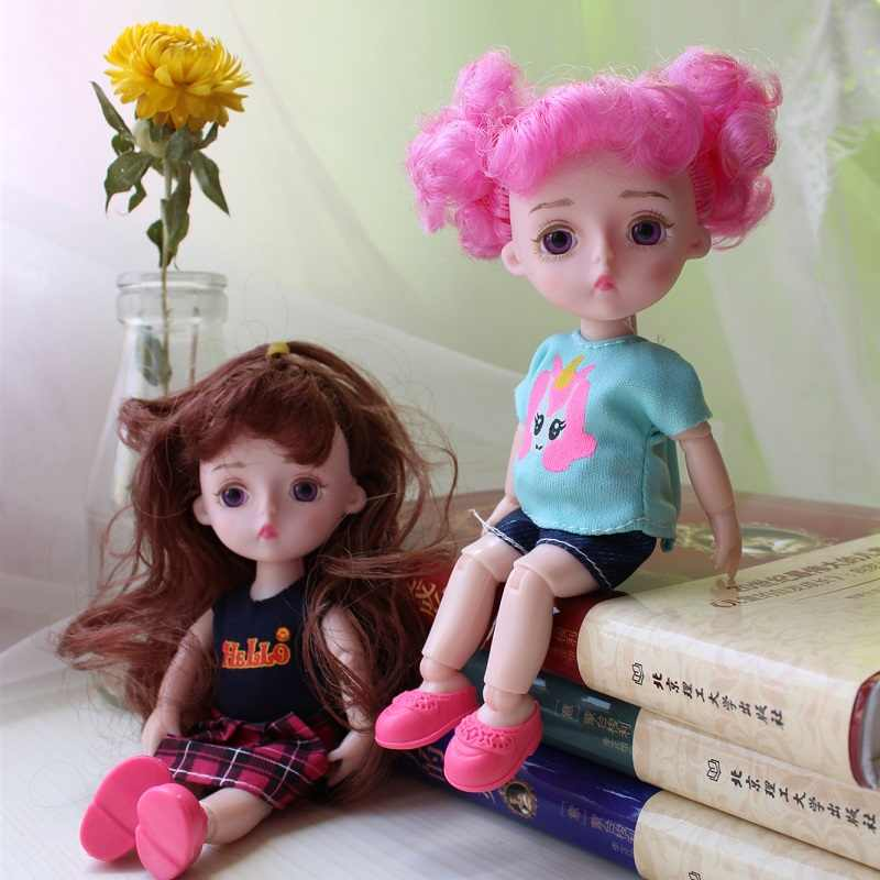 1/12 BJD Puppe 15cm Gold Haar Mädchen Puppen 14 Joint Körper Nude Bjd Puppe Gelegentliche Ein Satz Von Kleidung ein Paar schuhe Baby Spielzeug für Mädchen