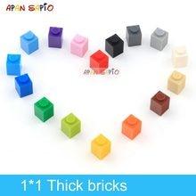 180 adet DIY yapı taşları kalın rakamlar tuğla 1x1Dots eğitici yaratıcı boyutu lego ile uyumlu plastik oyuncaklar çocuklar için