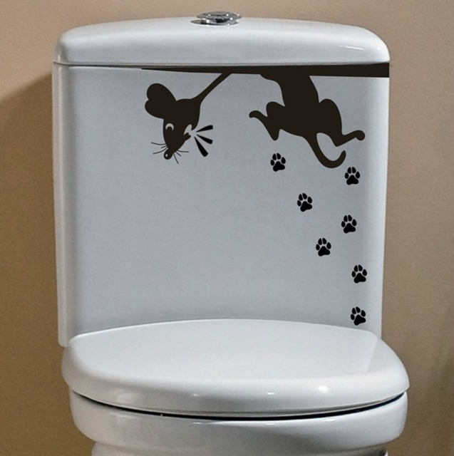 Amazing Eco Friendly Vinyl Toilet Sticker Cat And Mouse Closetool Decal Home Decor  Decals Art Mural