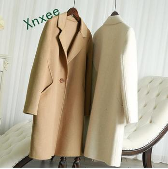 Xnxee Wool Coat Alpaca Outerwear Winter New Fashion 2019 High Quality Designer Medium Length Woolen Outerwear Plus Size Camel