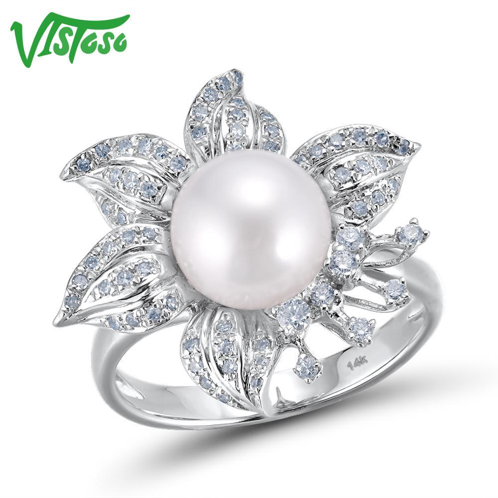 VISTOSO 14 Genuíno 585 K Ouro Branco Elegante de Água Doce Pérola Anel de Diamante Brilhante Para Lady Engagement Anniversary Chique Fino jóias