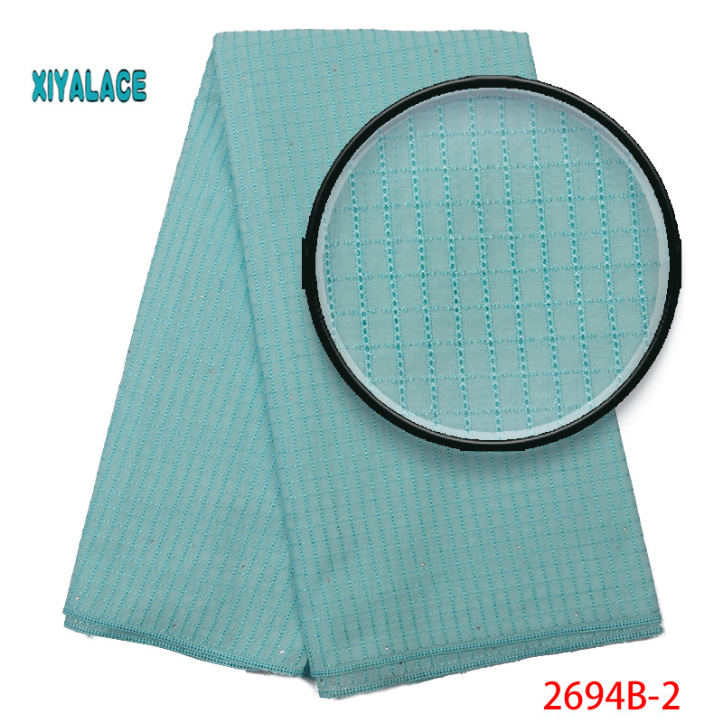 Cyan 2019 High Quality Swiss Voile Lace In Switzerland Pretty100% Cotton Swiss Voile Laces For African Sewing Dress YA2694B-2