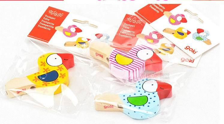 3pcs wooden colorful bird whistling baby kids music instrumental whistle children educational toys Free shipping
