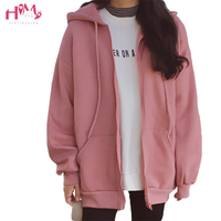 New Fashions Autumn&Winter Women Hoodies Sweatshirts Zipper Long Sleeve Warm Female Thicken Hoodies Drawstring Hoodie Jacket