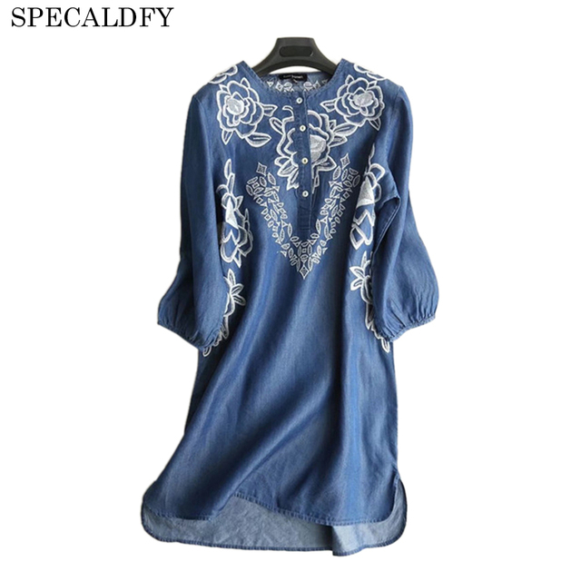 fc30672aedb 2018 Spring Summer Denim Dresses Women O-Neck 3 4 Sleeve Casual Mini Shirt  Dress Retro Vintage Embroidery Plus Size Robe Femme
